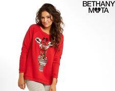 Women's Aeropostale-Bethany-Mota Red Color Sequin Giraffe Sweatshirt Size L NEW