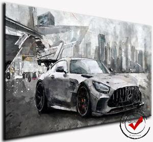 MERCEDES AMG GT Wand Bild auf Leinwand Auto Rennwagen Sport Kunstdrucke Silber