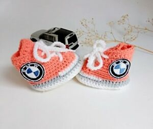 Crochet baby sneakers, Car bmw logo baby booties, Newborn boy sneakers, gift