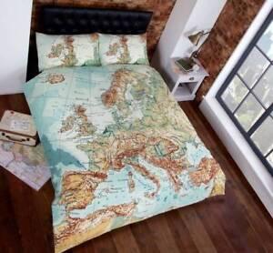Vintage Map / Atlas Duvet Quilt Cover Bedding Set & Pillowcases