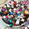 100 Assorted Faceted Beads Rhinestones Gem 10mm Square Flat Back Sew On #6