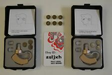 2 NEW BEHIND THE EAR SOUND AMPLIFIER HEARING AIDS AND FREE 12PCS FREE BATTERIES