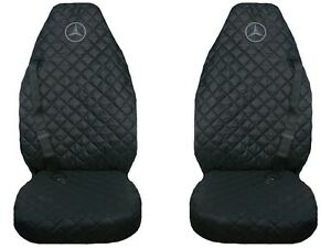 Mercedes Actros Truck Seat Covers 2 pieces (1+1) BLACK with GRAY LOGO