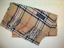 100% Cashmere Winter Scarf Scarve Scotland Warm Khaki Red Black Check Plaid NEW