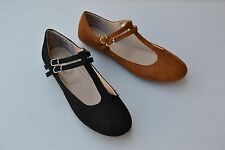 B-05A Women Flat Shoes Soft Sole Synthetic Black Chestnut Ankle Strap Size 5.5up