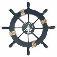 Wooden Nautical Beach Boat Ship Steering Wheel Fishing Net Shell Home Wall  Decor
