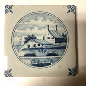 Antique Vintage Makkum Dutch Delft tile Farm house / Farm  original With A stamp