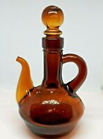 Antique Brown Hand Blown Glass Apothecary Bath Oil or Perfume Jar with Stopper