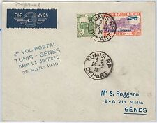 AIRMAIL 1st FLIGHT COVER - TUNISIA: Tunis / Genova - Longhi # 3773 1938