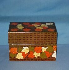 Vintage Tin Litho Metal Recipe Box Syndicate Mfg Co Fall Colors Leaves Brown!