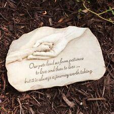 Pet Memorial Garden Stone Grave Marker Dog Paw Hand Print Devotion Statue