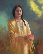 """WESTERN INDIAN GIRL """"AIYANA"""" LIMITED EDITION SIGNED 13"""" X 19"""" PRINT FREE SHIPPIN"""