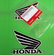 2 x HONDA WING DECALS FUEL TANK STICKERS BLACK / WHITE *** GENUINE HONDA ***
