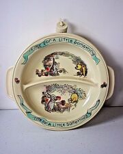 """Vtg Pooh Water Heated Plastic Baby Plate Bowl """"Time For A Little Something"""""""