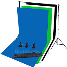 Photo Studio Background Stand Kit + Photography Black White Green Blue Backdrops