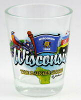 WISCONSIN BADGER STATE ELEMENTS SHOT GLASS SHOTGLASS