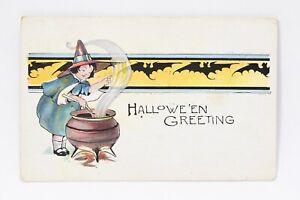 1921 ART HALLOWEEN POSTCARD Witches Bats Hllowe'een Greetings