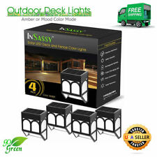 Solar LED Outdoor Lights - Amber Waterproof Security Lighting for Deck, Fence
