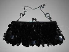 Retro Black Beaded Clutch Wedding Evening Formal Prom Purse w/Hidden Chain