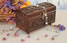 Carved Brown Handmade Wooden Box With A Lock For Jewelry Bijouterie Accessoires