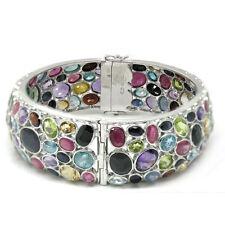 "De Buman Sterling Silver Bespread Multi-colored Gemstones Bangle Bracelet, 8.48"""