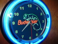 Budweiser Bud Lizard Beer Bar Advertising Man Cave Neon Clock Sign