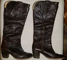 76ff170bda6 FRYE WOMENS JACKIE TALL RIDING LEATHER BOOTS DARK BROWN 76572 SZ 7.5 B from   448