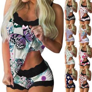 Womens Lace Girl Pyjamas Sleepwear Nightwear Pjs Cami Top Shorts Two Piece Sets