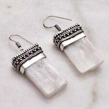 "Earrings Jewelry 1.64"" Ae 50584 Selenite Handmade Drop Dangle Antique Design"