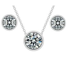 Solitaire Classic Necklace and Earrings Set Jewellery CZ Cubic Zirconia CRYSTALA