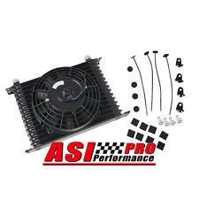 "RACE ALUMINUM 15 ROW AN-10 AN Oil Cooler Tank Core Black &7"" Electric Fan Kit AU"