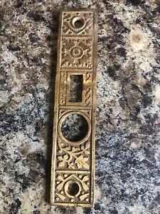 """Antique Original EASTLAKE hardware door bolt plate brass 5 3/4"""" tall"""