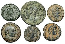 6 uncleaned Late Roman bronze coins...different rulers and different reverses