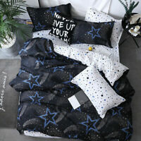 Star Duvet Quilt Cover Kids Bedding Set Twin Queen Size Comforter Cover Space