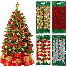 12 Pcs/Set Bow Christmas Tree Decoration Xmas Hanging Ornament Bowknot  RED