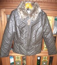 CHICO'S Womens 0 XS-S Brown Leatherette Quilted Zip Jacket Faux Fur Collar NWT