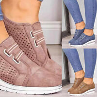 Women Round Head Casual Shoes Loafers Wedge Heels Slip-On Sneakers Trainers New