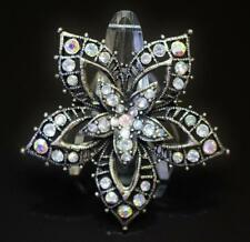 Vintage Brooch Pin Open Work Flower w Scattered Ice & AB Rhinestones Antiqued 68