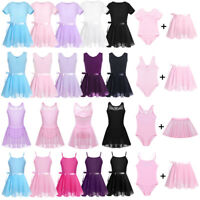 Girls Ballet Leotard Dance Dress Gymnastics+Chiffon Wrap Tutu Skirt Skating Wear