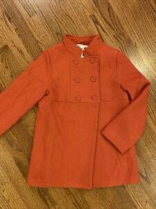 Janie and Jack NWT sz 8 Autumn Classics Orange Wool Blend Coat Button Lined