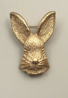 Vintage Bunny brooch pin enamel on gold tone metal with crystals