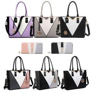 Women Ladies Faux Leather Shoulder Handbag Tote Bag Patchwork V-Shape