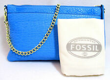 FOSSIL SYDNEY BLUE $128 TOP ZIP CHAIN CROSSBODY LEATHER Purse Bag ZB5702 NEW NWT