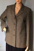 M & S  Womens Tailored Blazer Jacket U.K. Size 14 P Olive Green Check  BNWOT