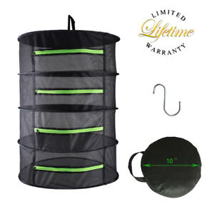 Herb Drying Rack Net Dryer 4 Layer 2ft Black W/Green Zippers Mesh Hydroponics