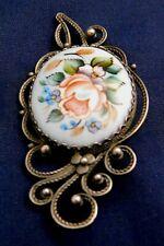 Designer Sterling Painted Ceramic Manufactured Vintage Floral Pin