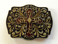 "BELT BUCKLE - CROSS ON BLACK ENAMEL GOLDEN FINISH TO SUIT 1.5"" SNAP ON BELT"