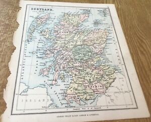Antique Map Scotland. Phillips Atlas For Beginners 1892 9Inches By 7.inch