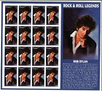 Bob Dylan Rock & Roll Legends Gambia Collectible Stamp Sheet of 16 Stamps