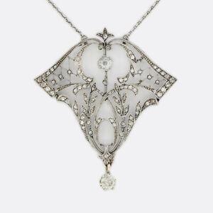 Gold Diamond Pendant- Victorian Old Cut Diamond Drop Necklace Platinum
